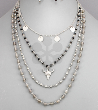 Small Metallic Beads Y Necklace