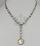 Coin Drop Y Necklace-Gray