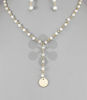 Bead Link Y Necklace- White/Gold