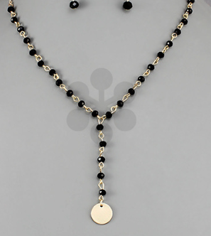 Crescent and Bead Y Necklace- Gold