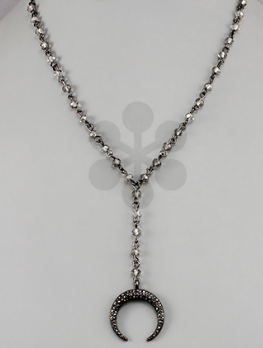 Crescent and Bead Y Necklace- Grey
