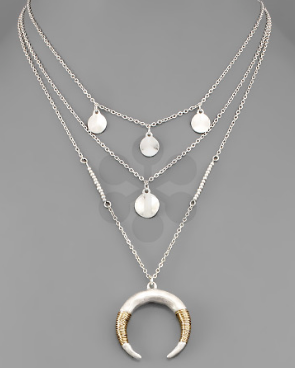 Crescent and Disk Layered Necklace