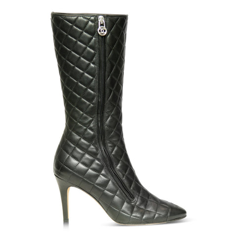 Chanel Quilted Black Leather Boots