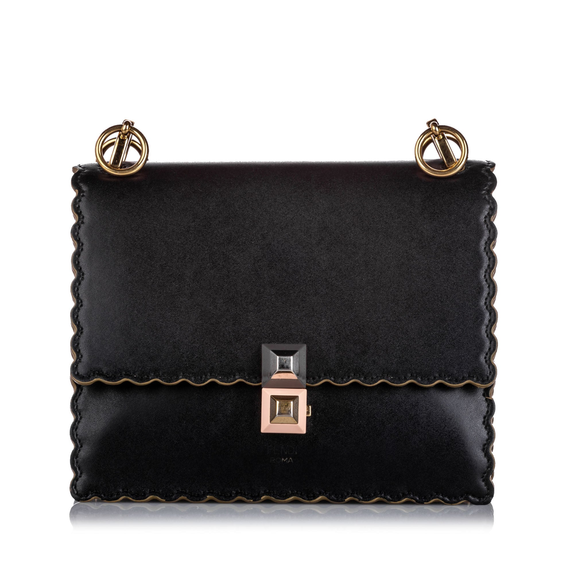 Fendi Black Kan I Leather Shoulder Bag