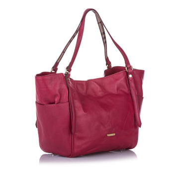 Burberry Red Canterbury Leather Tote Bag
