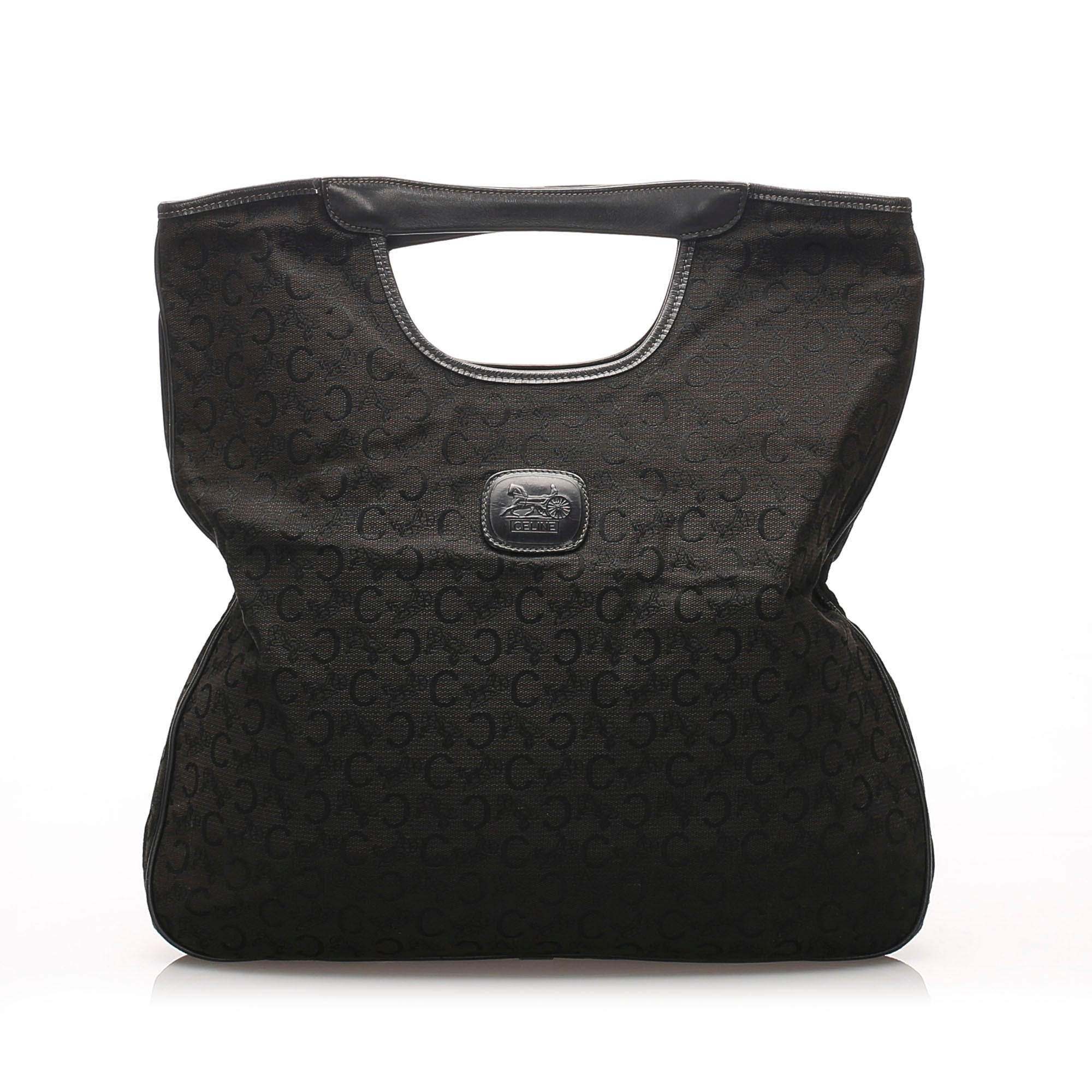 Celine Black C Macadam Canvas Handbag