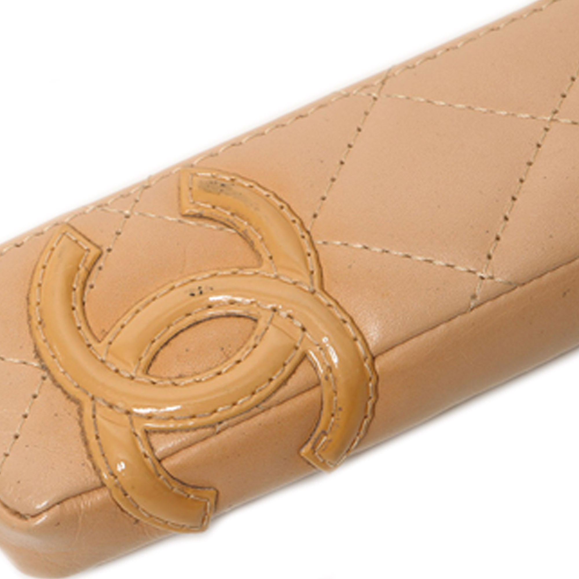Chanel Brown Cambon Ligne Lambskin Pen Case