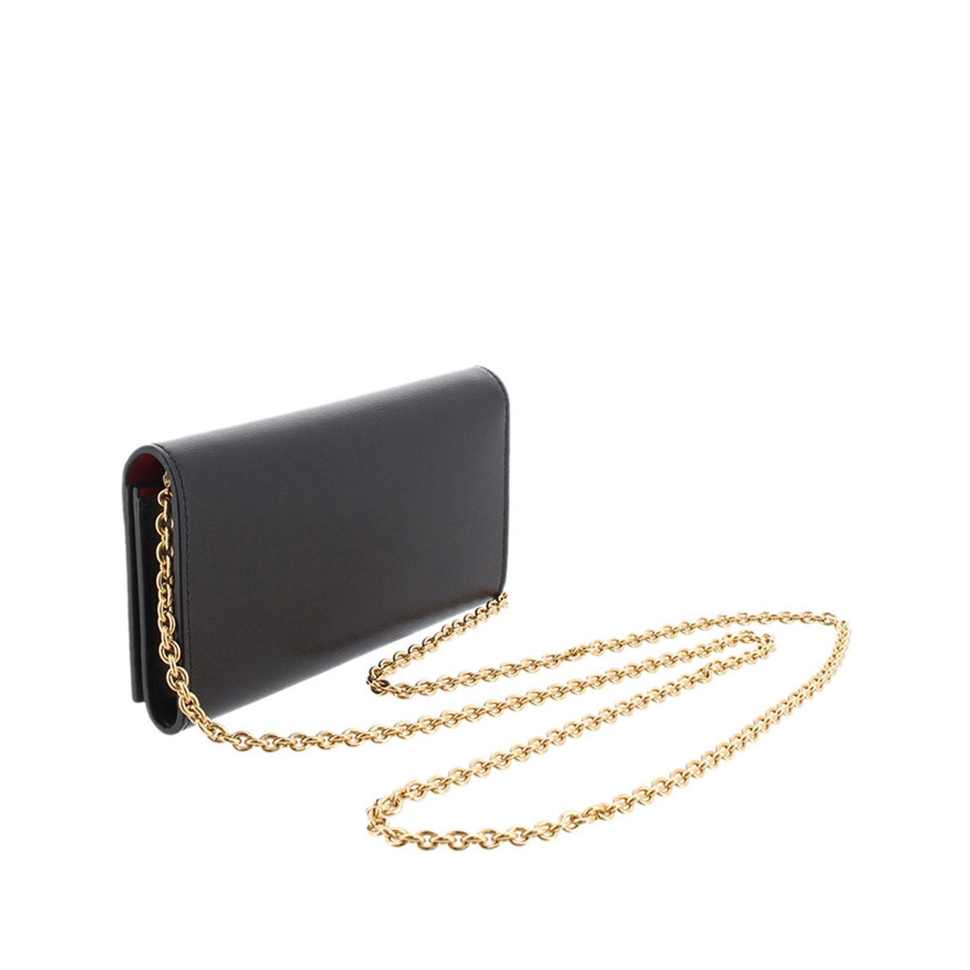 Ferragamo Black Gancini Leather Wallet On Chain
