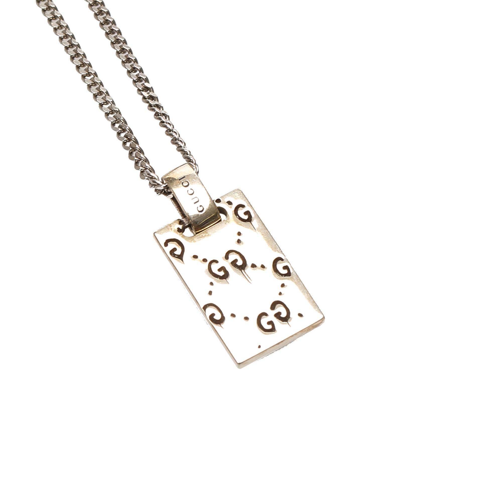 Gucci Silver Ghost Tag Pendant Necklace