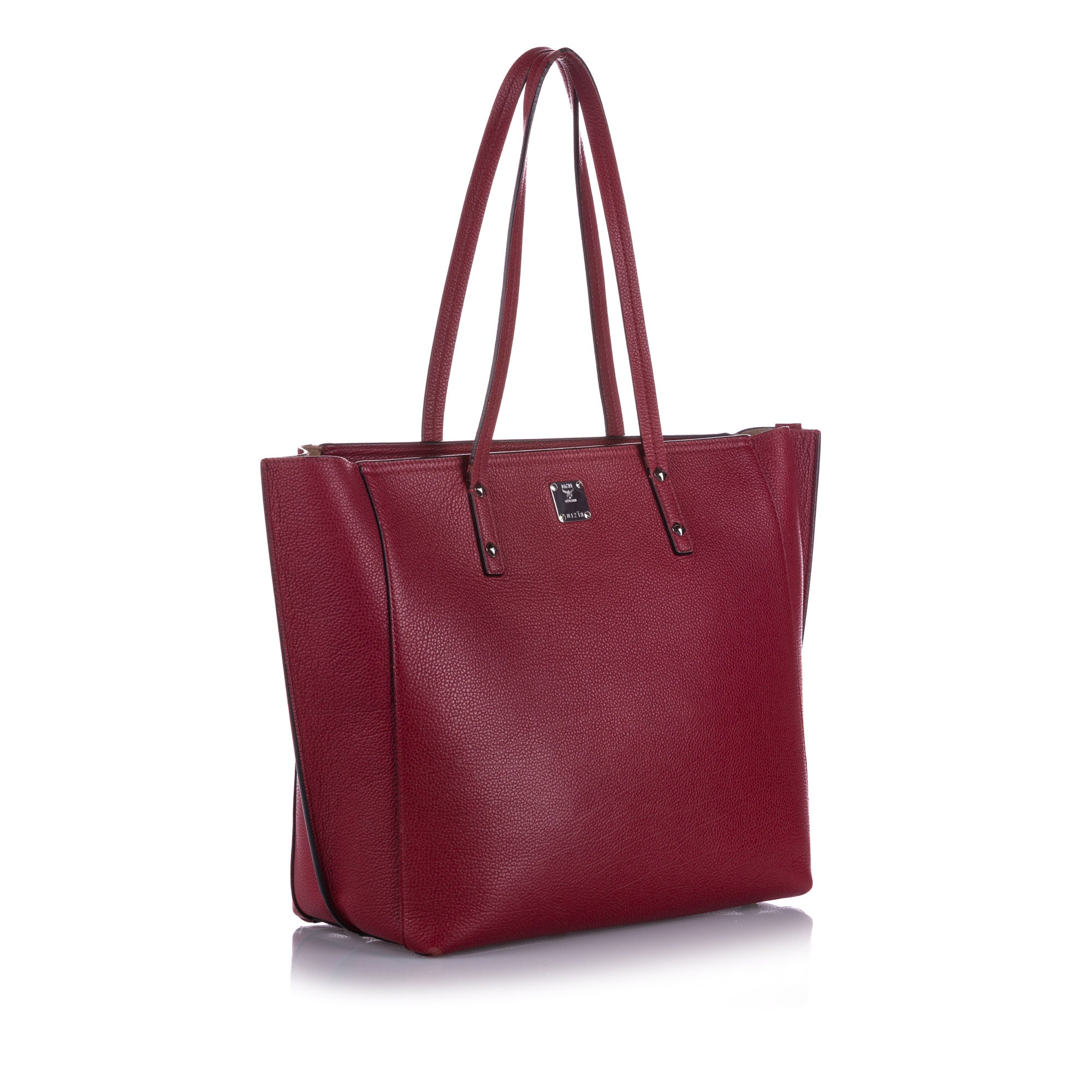 MCM Red Sophie Leather Shopper Tote Bag