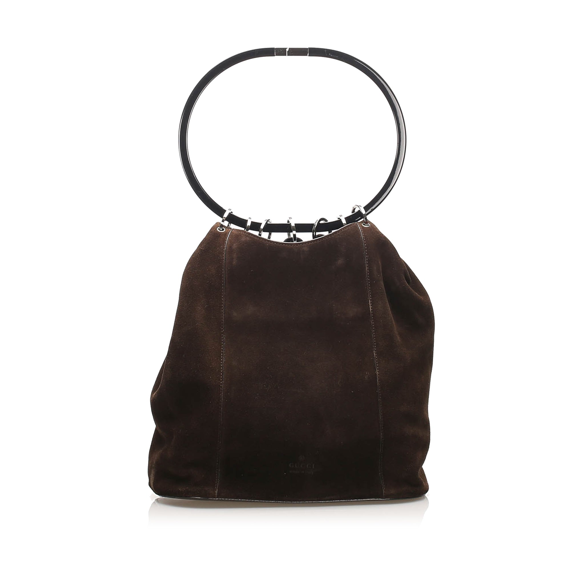 Gucci Brown Ring Handle Suede Handbag