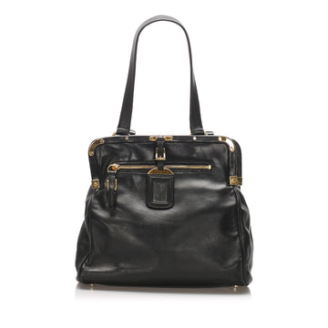 Prada Black Frame Leather Shoulder Bag
