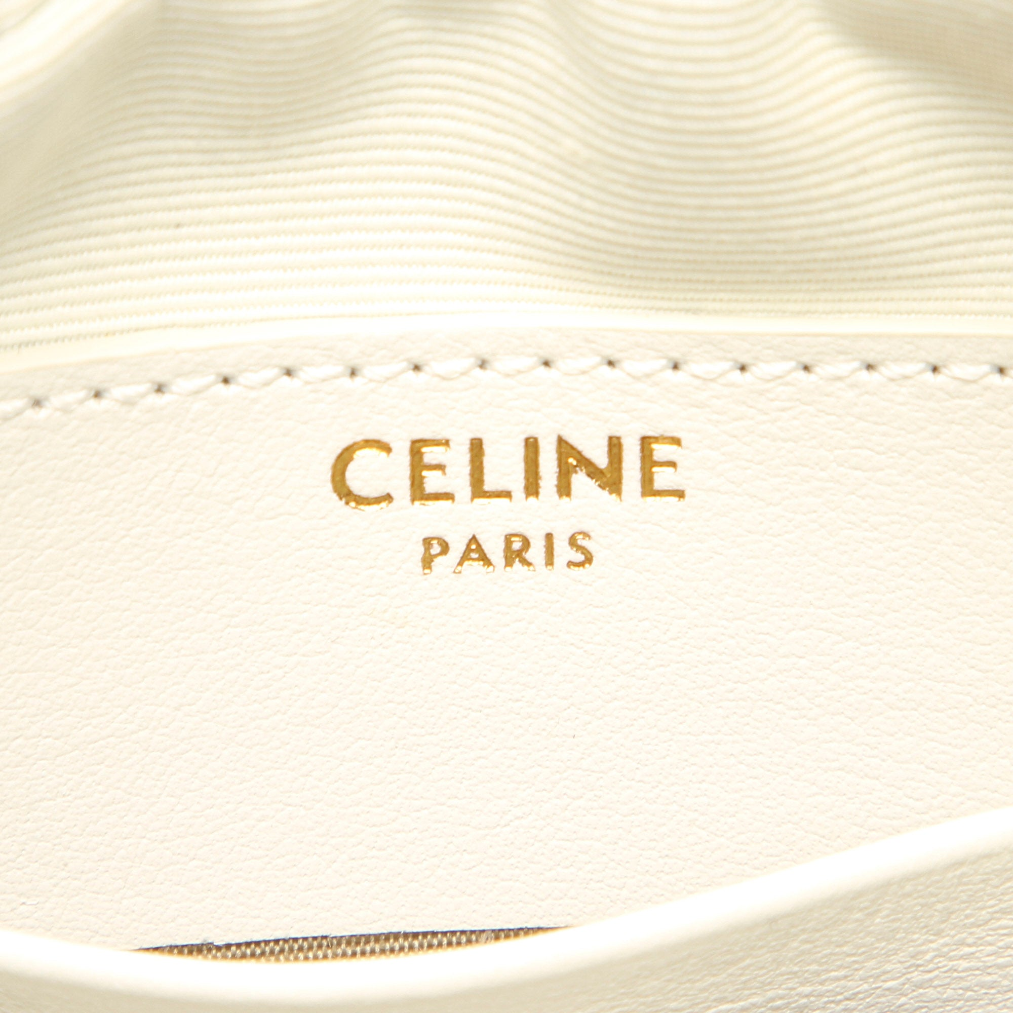 Celine White C Charm Leather Crossbody Bag
