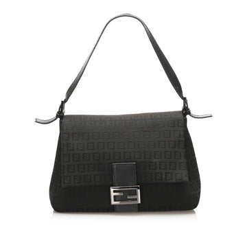 Fendi Black Zucchino Mamma Forever Canvas Shoulder Bag