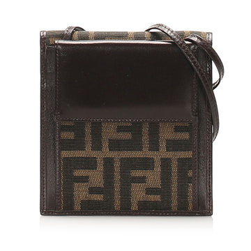Fendi Brown Zucca Patent Leather Crossbody Bag