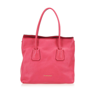 Burberry Red Leather Tote Bag