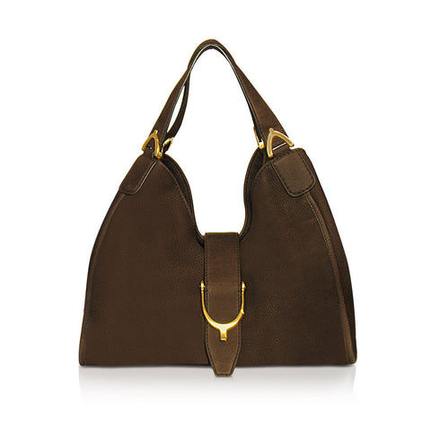 Gucci Stirrup Hobo Bag in brown suede