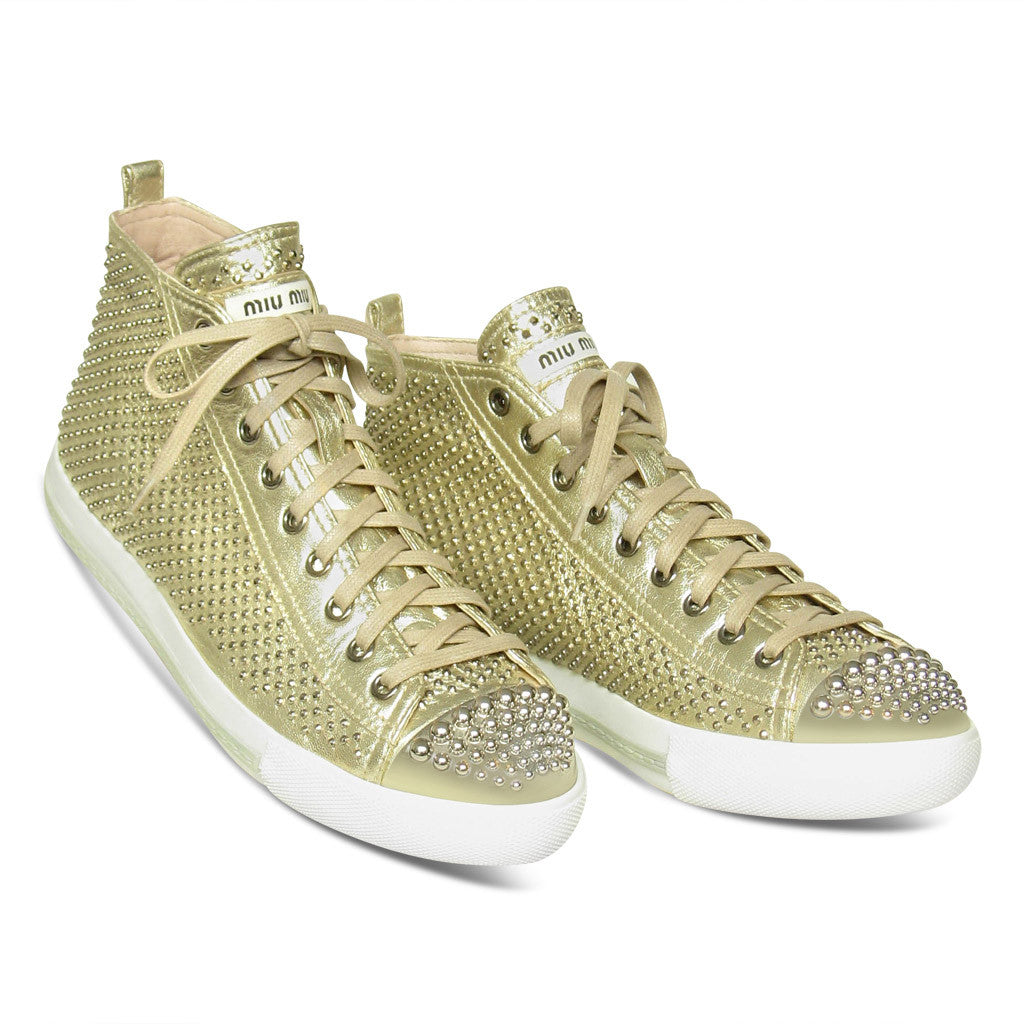 Miu Miu High Top Studded Sneakers
