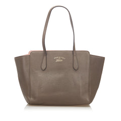 Gucci Gray Swing Leather Tote Bag