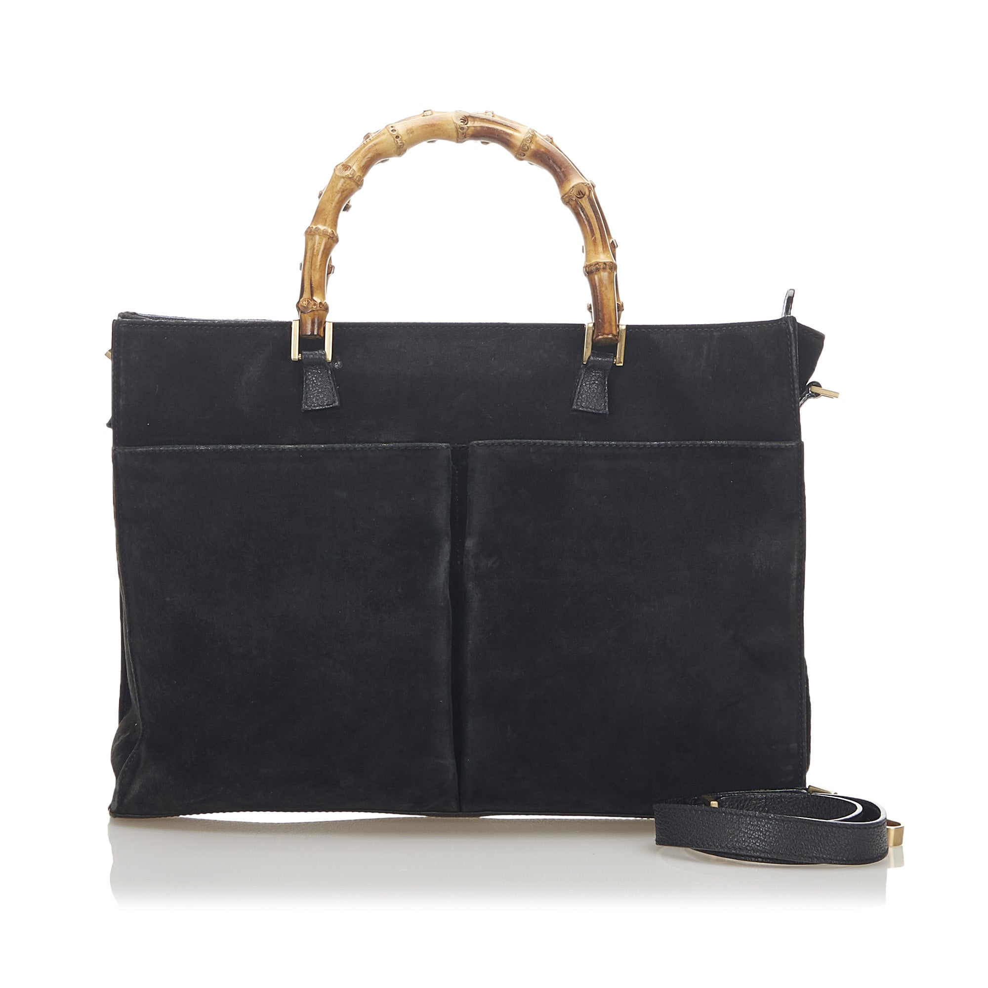 Gucci Black Bamboo Suede Satchel