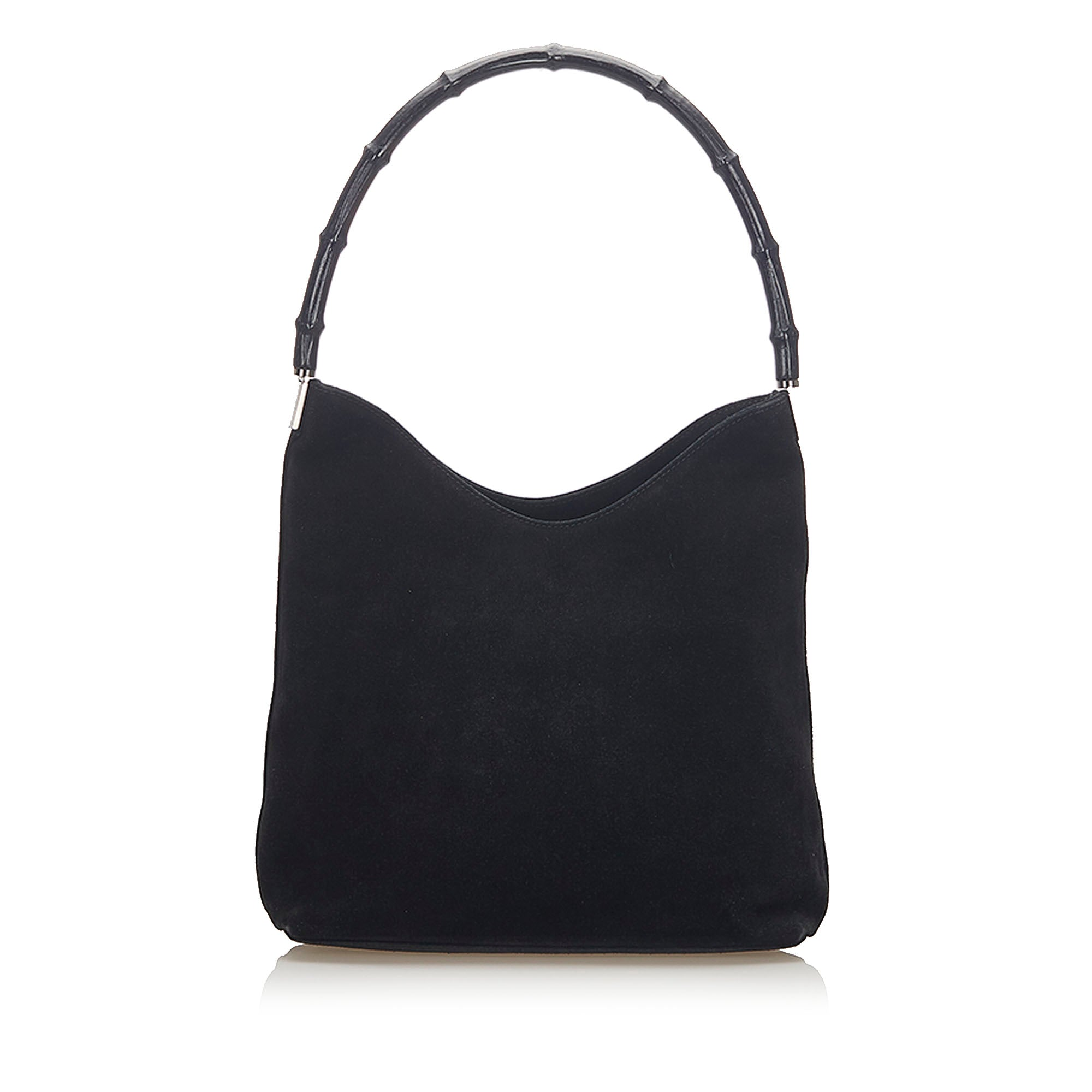 Gucci Black Bamboo Suede Shoulder Bag