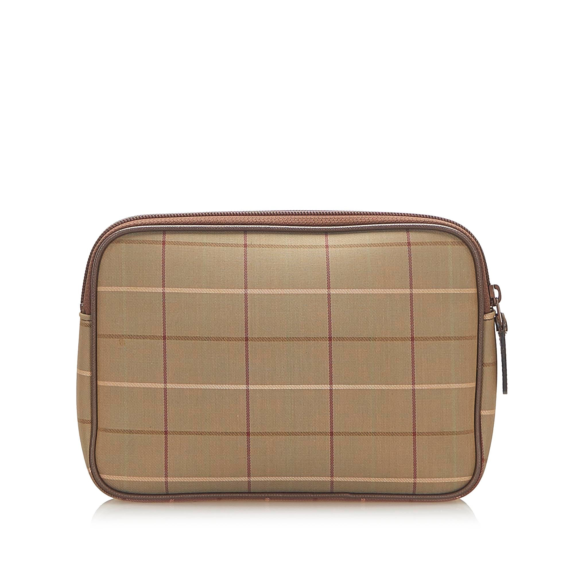 Burberry Brown Plaid Canvas Pouch