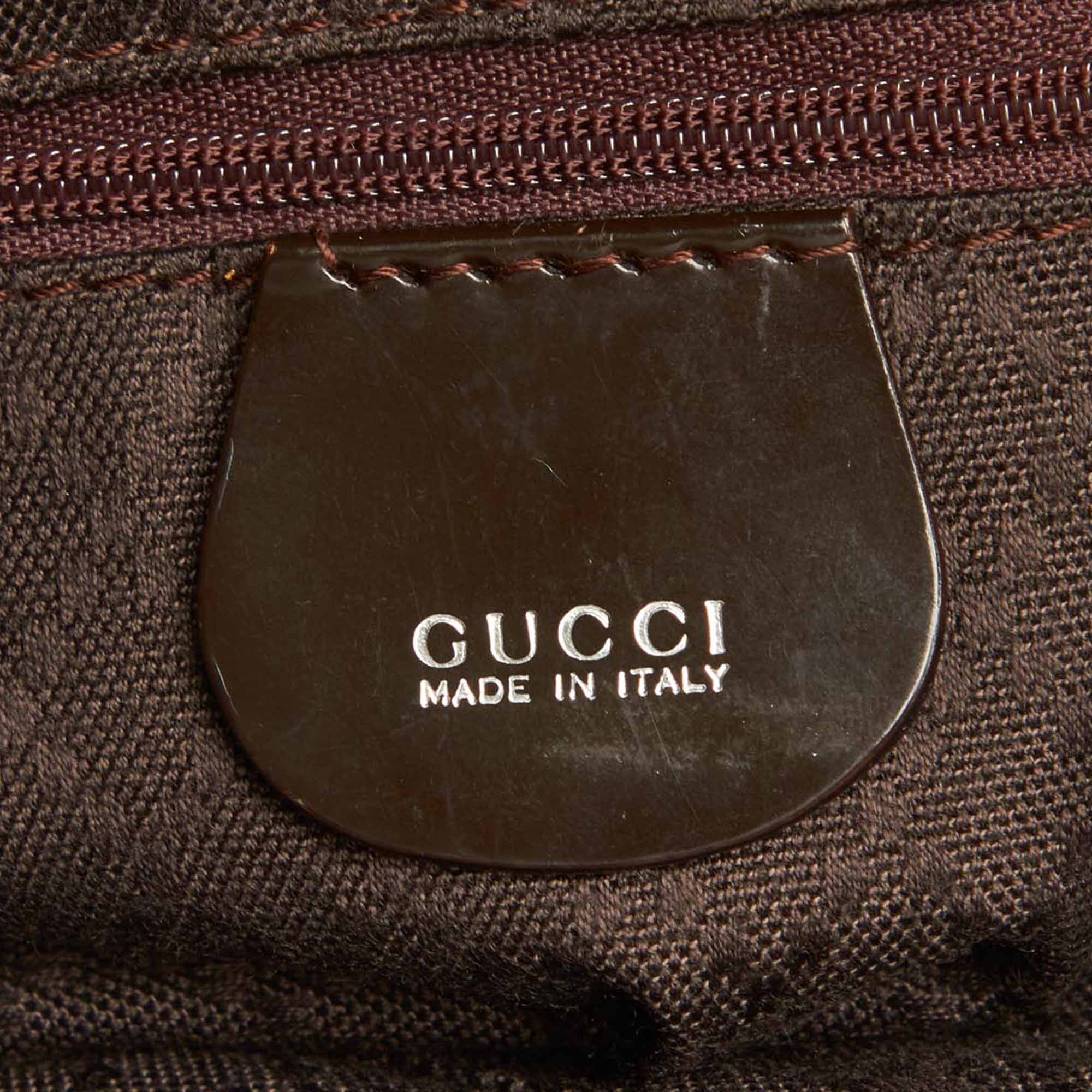 Gucci Black Bamboo Nylon Satchel