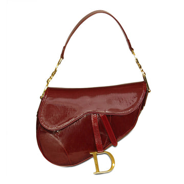 Christian Dior red patent leather saddle bag