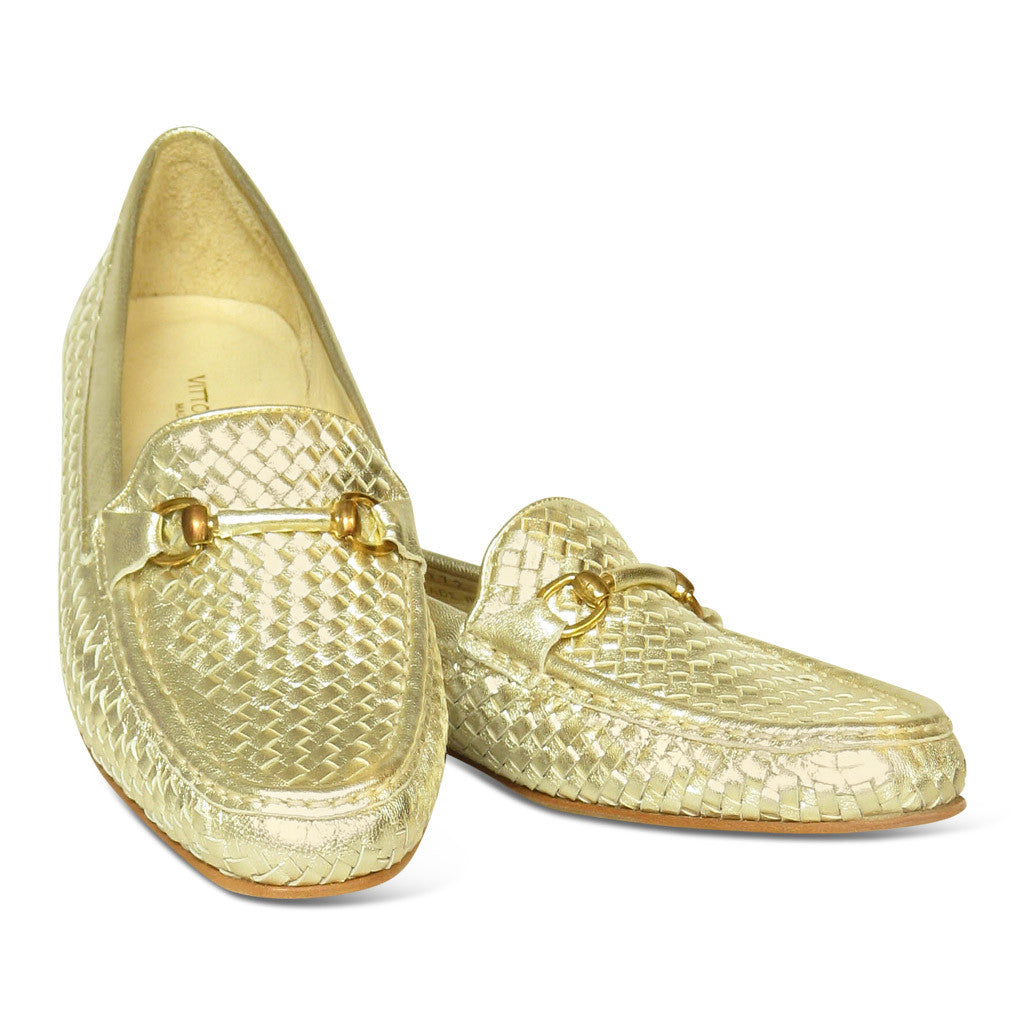 Vittorio Carli Gold Leather Loafers