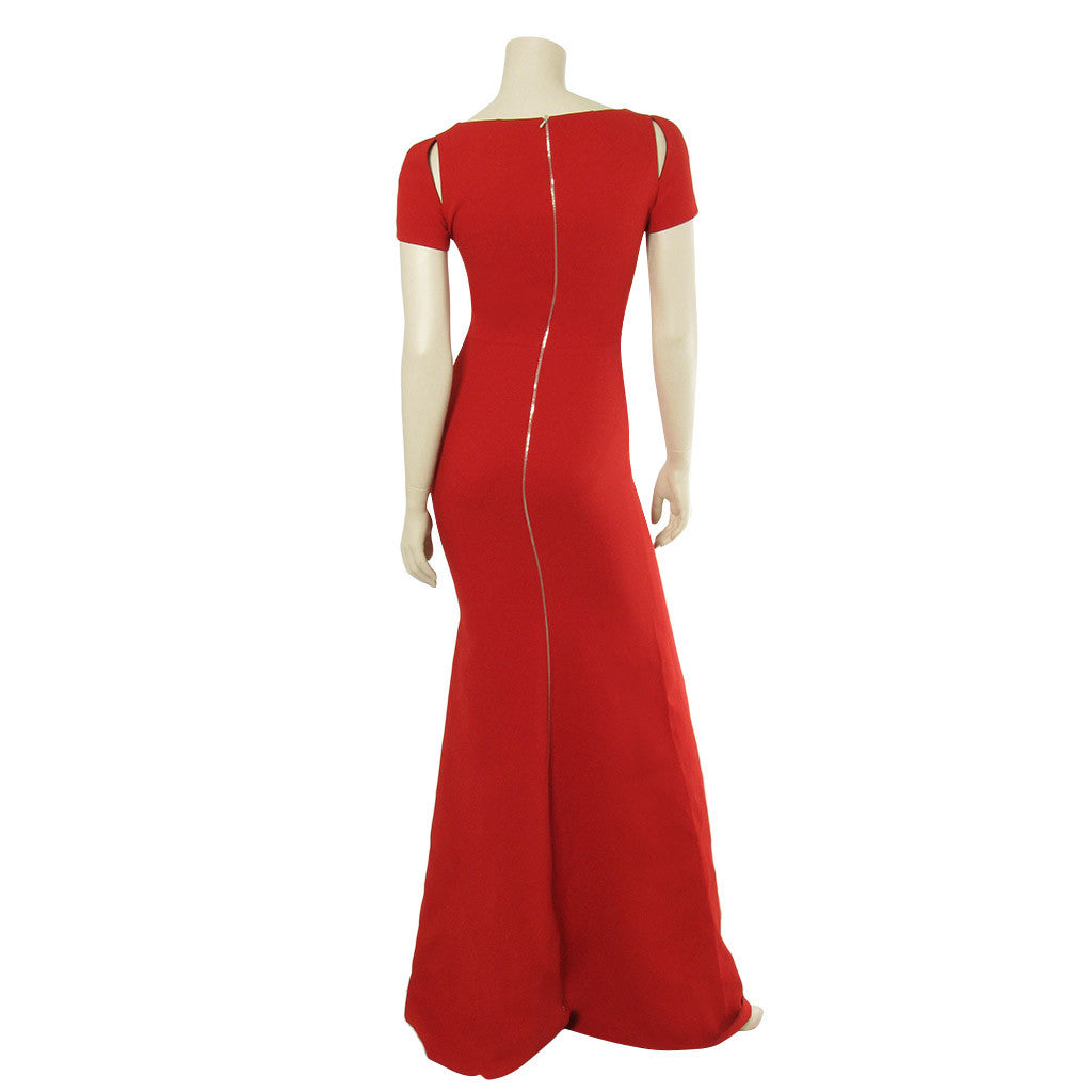 Victoria Beckham Red Dense Rib Jersey Fitted Dress