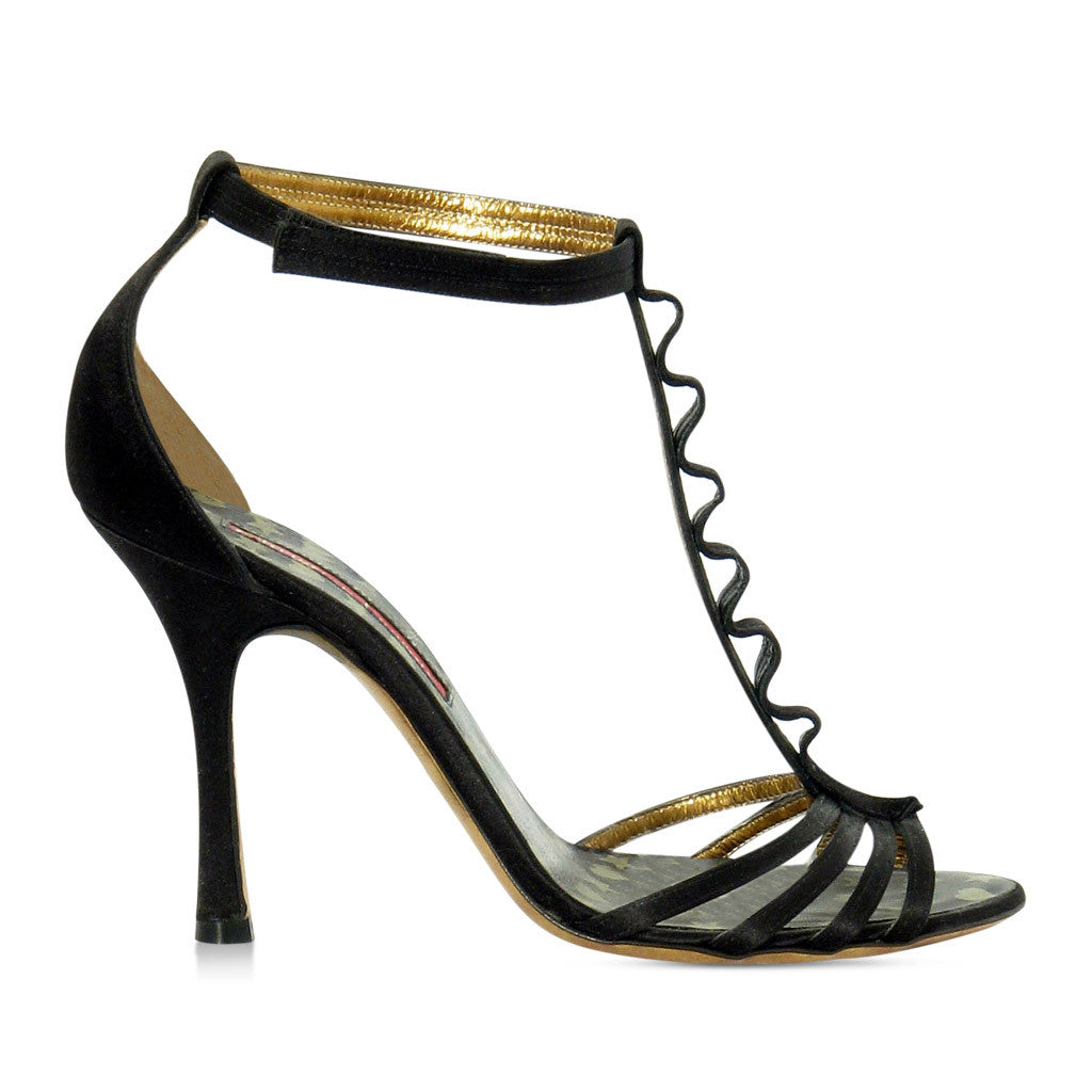 Christian Lacroix Black Satin Sandals