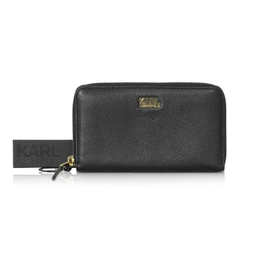 Karl Lagerfeld Black Leather Zip Around Wallet