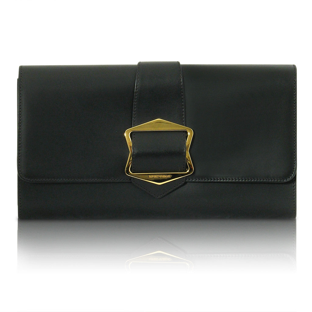 Armani Black Leather Clutch