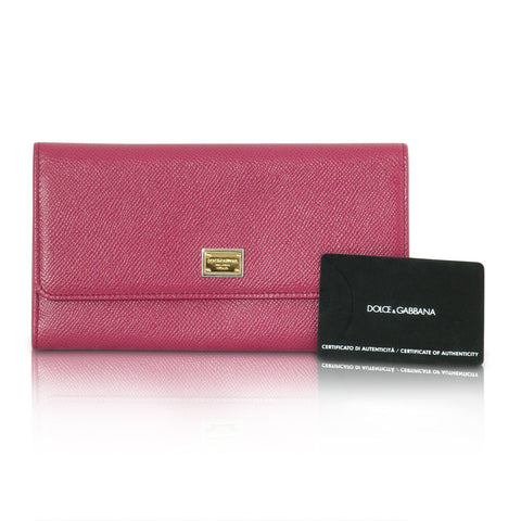 Dolce & Gabbana dark pink three fold leather wallet
