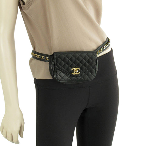 Chanel Black Leather Belt Bag