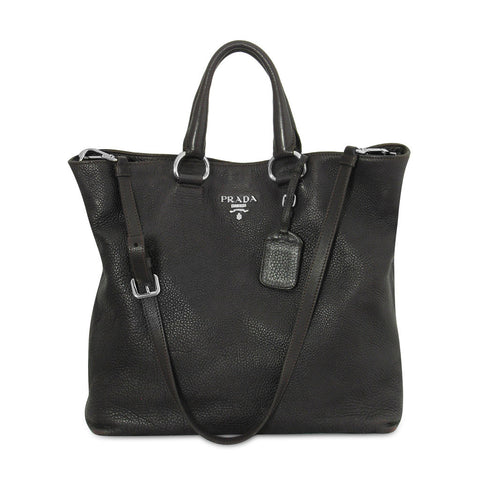 Prada Dark Purple Leather Tote