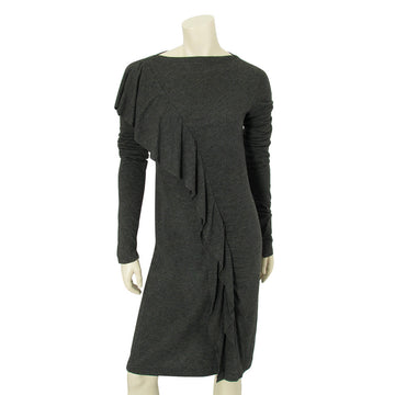 Jean Paul Gaultier grey long sleeved dress with ruffled front