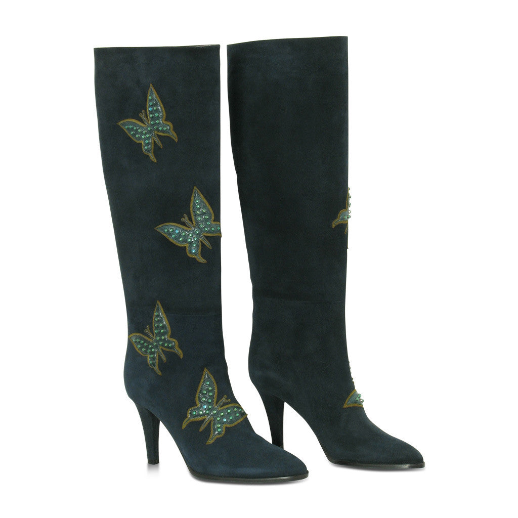 Elman Suede Boots with butterflies
