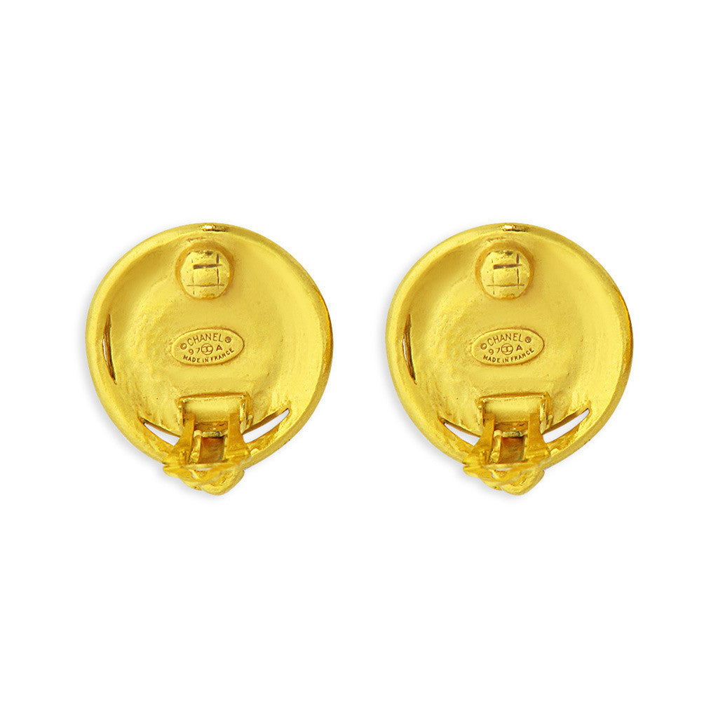 Chanel CC Earrings with mother of pearl inset
