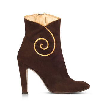 Charles Jourdan Brown Suede Booties