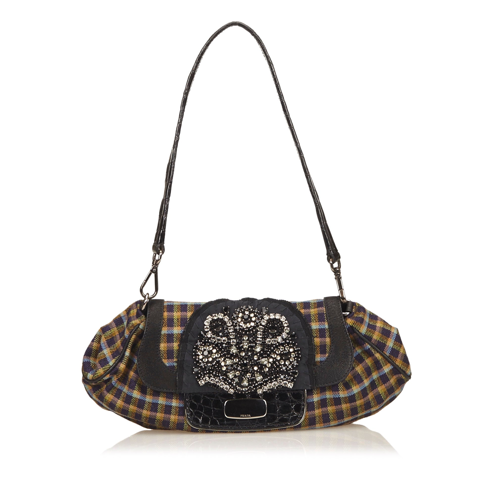 Prada Plaid Studded Shoulder Bag