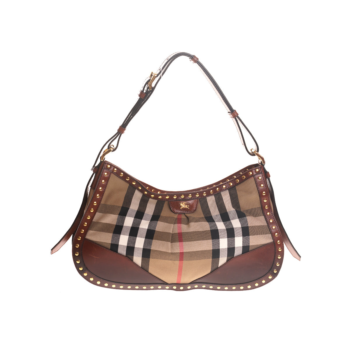Burberry Brown Studded Plaid Baguette