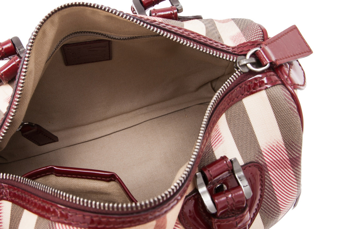 Burberry Red Heart Print Coated Canvas Boston Bag
