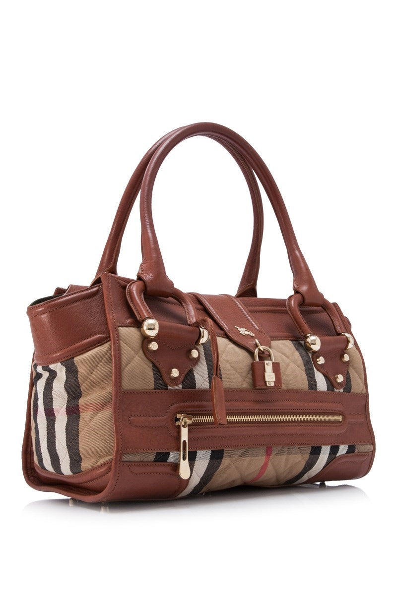 Burberry Brown Plaid Leather Handbag