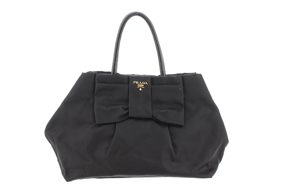 Prada Black Nylon Tessuto Bow Handbag