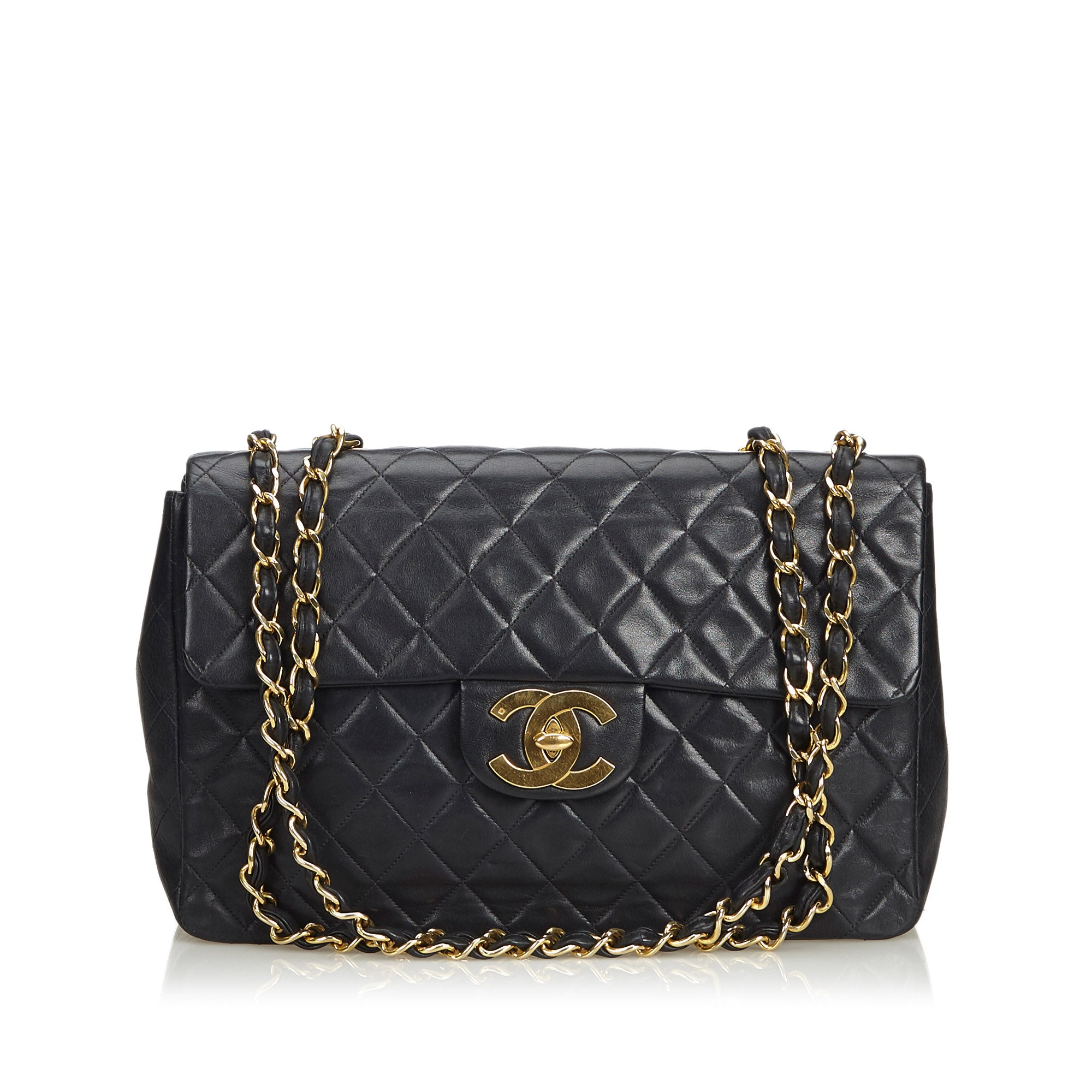 f78b8be839aadd Chanel Black Classic Maxi Lambskin Leather Single Flap Bag