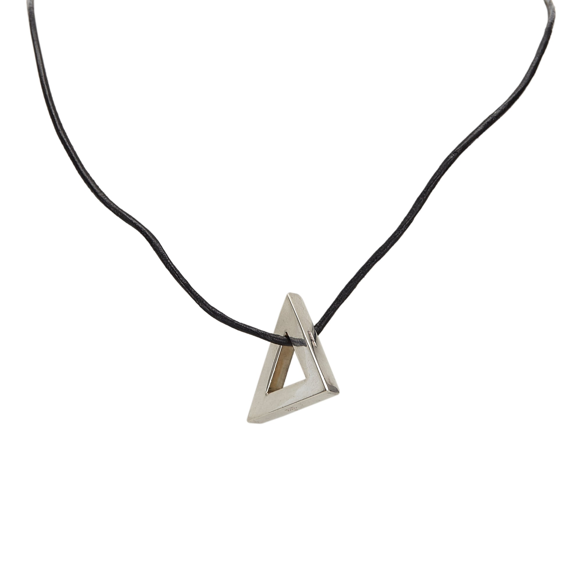 Gucci Silver Metal Triangle Necklace