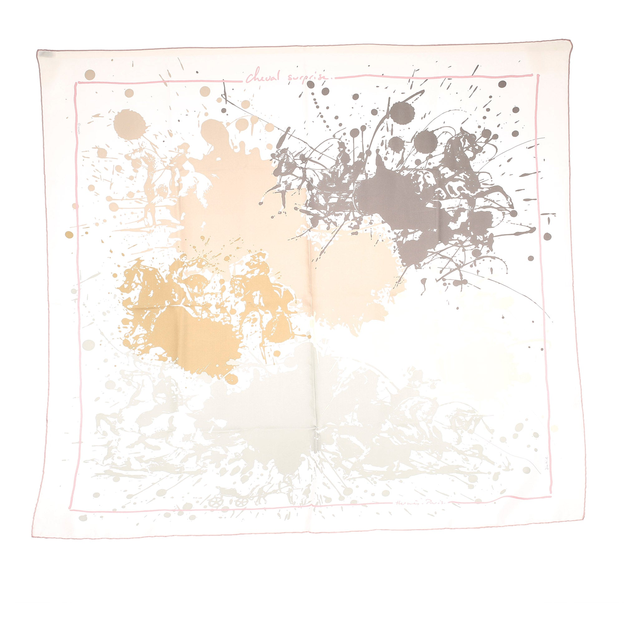 Hermes White Cheval Surprise Silk Scarf