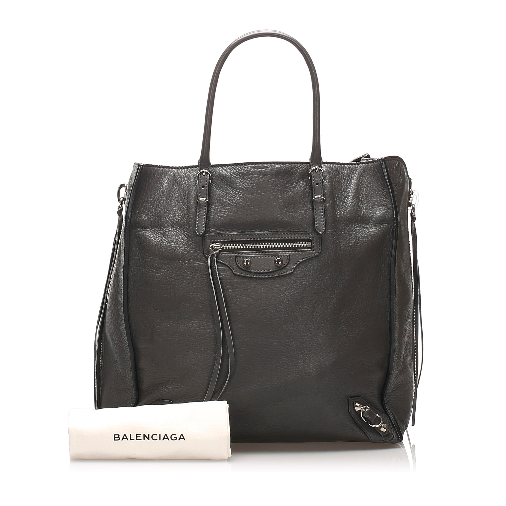 Balenciaga Gray Motocross Papier A4 Leather Tote Bag