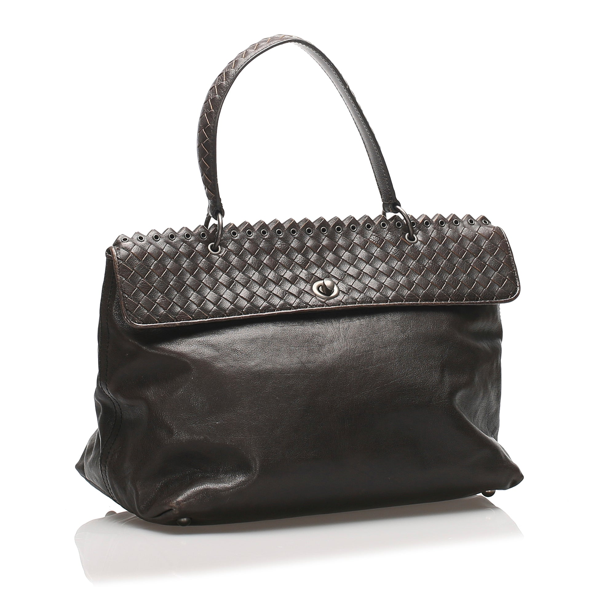 Bottega Veneta Black Intrecciato Leather Handbag